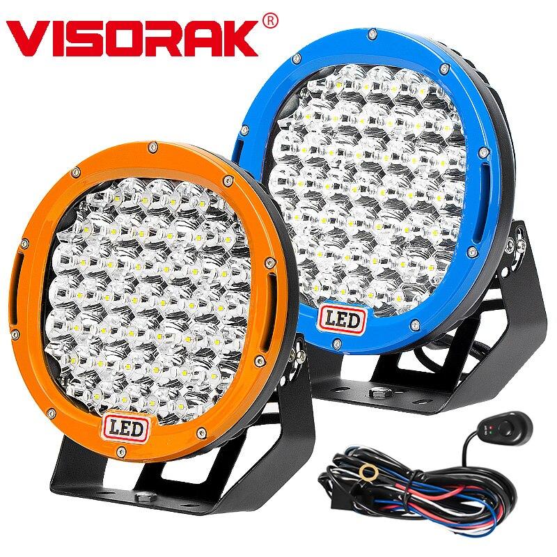 VISORAK 9 Blue Orange Claret Offroad Car LED Work Light For Jeep 4WD 4x4 Truck Vehicles