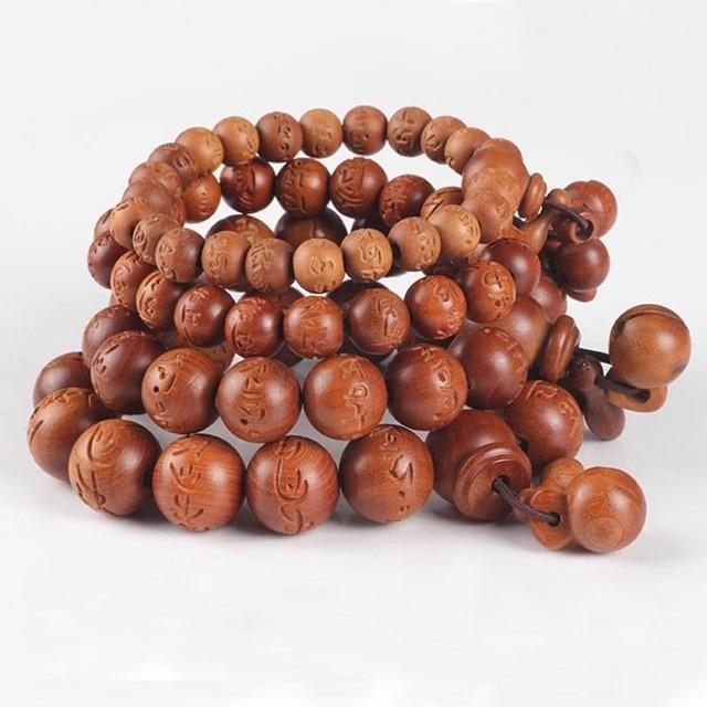 Ubeauty Unisex Lightning Wood Buddhism Prayer Beads Bracelets Buddha Bracelet Bangle Rosary Wooden Tibetan Mala Charms Jewelry