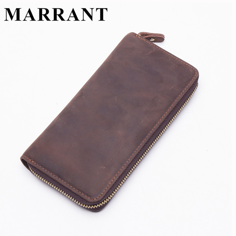 MARRANT Genuine Leather Men Wallets Vintage Crazy Horse Long Standard Man Purse Male Casual Clutch Bag 8806