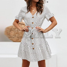 купить CUERLY V-neck polka dot print plus size women dress Summer casual female mini dress Ruffled short sleeve button sashes dress по цене 2820.18 рублей