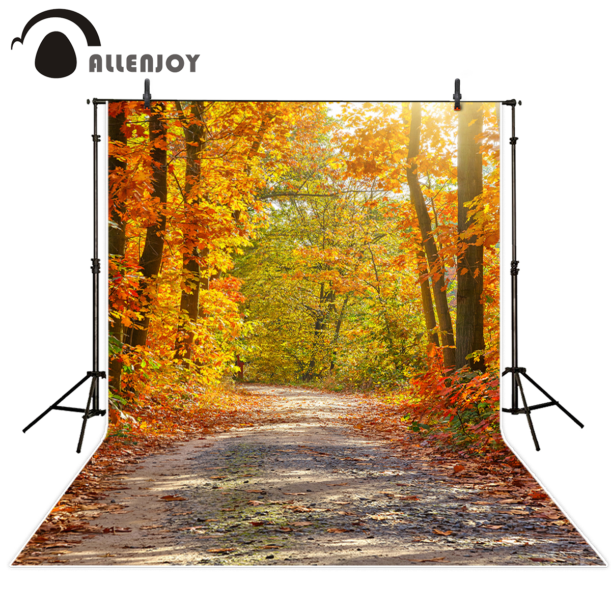 Allenjoy autumn backgrounds for photography studio tree path orange sunshine photobooth backdrop professional printed