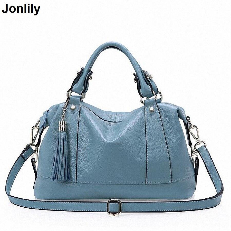 New Designer Women Casual Tassel Tote Bags Cow Genuine Leather Handbag Shoulder Bag Solid Bigs Capacity Female LI-1661