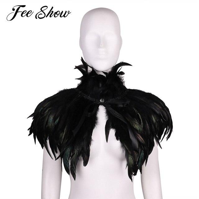 ファッション黒ヴィンテージゴシックビクトリア朝ナチュラルフェザー岬ショールとポンチョケープラップローブはチョーカー襟ハロウィン仮装パーティー