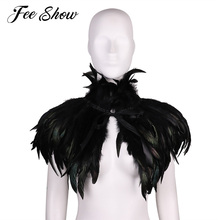 Fashion Black Vintage Gothic Victorian Natural Feather Cape Shawl Stole Poncho with Choker Collar for Halloween Costume Party