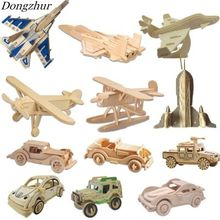 Dongzhur 1pc DIY 3D Wooden Plane Toys Puzzle Game Natural Color Toy Model Educational Toys For Children Kids Puzzle Toys(China)