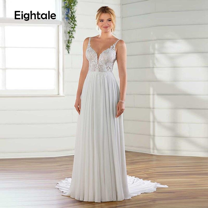 Eightale Boho Wedding Dresses 2019 Sweetheart Spaghetti Strap Boho Wedding Gowns Chiffon Backless Bride Dresses Robe
