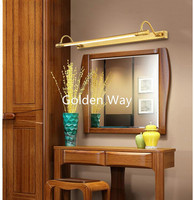 56 см/68 см Ванная комната зеркало лампа Водонепроницаемый Ретро Бронзовый Кабинет косметическое зеркало с подсветкой 100% латунь LED Бра свет н...