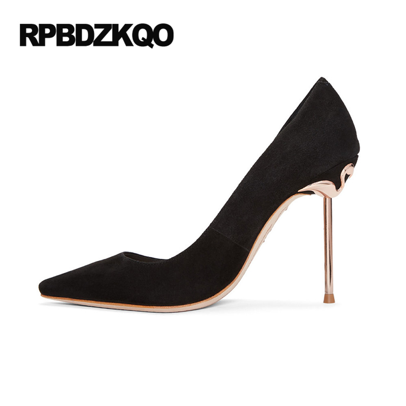 Metal Heels Stiletto Black 11 43 Pumps Pointed Toe Luxury Brand Shoes Women 2017 High Thin Designer Prom Plus Size 33 Flamingo 2016 luxury designer brand pearl nubuck leather women s shoes pumps high heels sheepskin shoes top quality pointed toe shoes