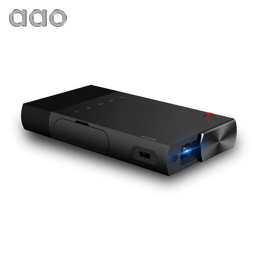 AAO 5200mAh Builtin Battery DLP S1 Portable Mini Projector 1500Lumens Sync Wired Display For 1080P Home