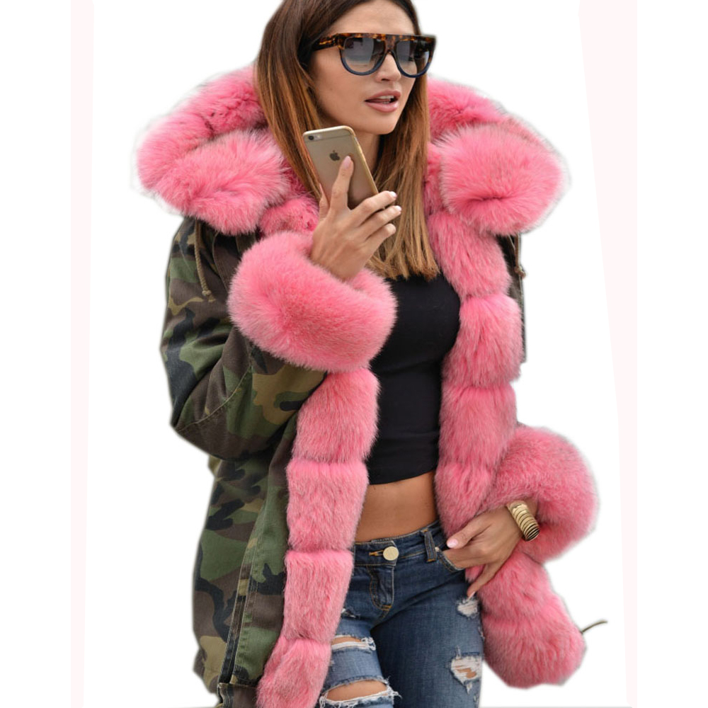 Roiii Thickened Faux Fur Camouflage Hot Pink Parka Women Hooded Long Winter Jacket Overcoat US Plus Size S M L XL XXL 3XL