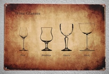 1 pc Wine glasses Bar Hotel port madeira Sherry Hock Tin Plate Sign wall man cave Decoration Art Poster metal vintage home