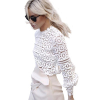 FHILLINUO Hollow Out White Lace Blouse 2017 Women Top High Neck Geometry Cool Blouse Autumn Long