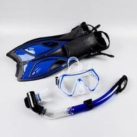 Fitness Scuba Diving Equipment Sets Underwater Diving Mask Full Dry Snorkeling Gel Myopia Swimming Glasses Mask+Snorkel+Fins