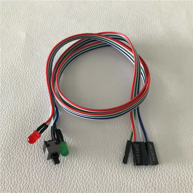 PC Desktop Computer Chassis Switch Reset Button Hard Disk Status LED Power LED Cable 65cm