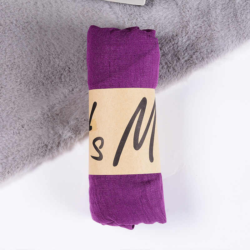 New Cotton Linen Scarf Solid Color Monochrome Candy Colored Silk Femme Scarf Women Gift Scarf  Beautiful Scarves CA-01