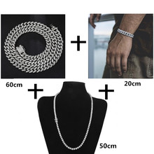 3PCS Silver Necklace +Bracelet+Tennis Chain Hip Hop Miami Curb Cuban Chain Iced Out Paved Rhinestones CZ Bling For Men Jewelry