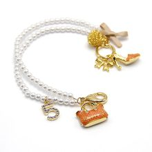 Fashion Big Brand Bag and High-heeled shoes pendants pearl bracelet(China)