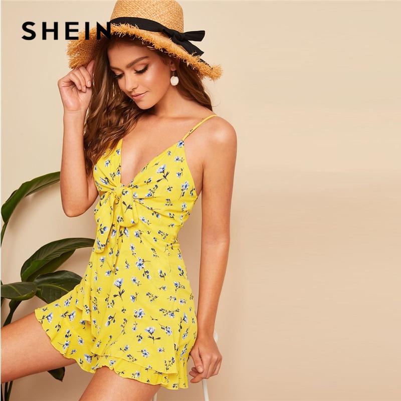 SHEIN Elegant Yellow Mid Waist Playsuit 07190308811