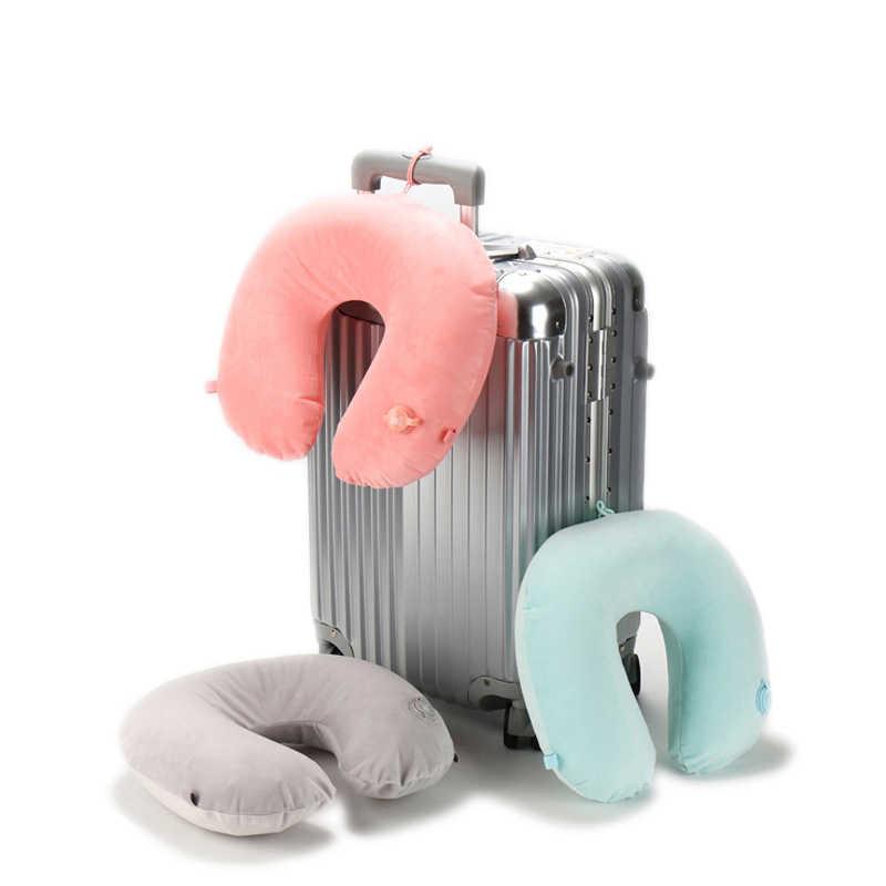 Inflatable U Bentuk Perjalanan Bantal untuk Pesawat Berkerudung Leher Bantal Perjalanan Aksesoris Nyaman Bantal untuk Tidur Tekstil Rumah