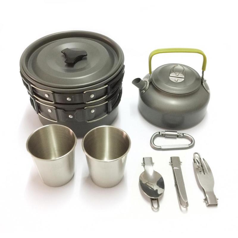 11Pcs Portable Camping Cooking Cookware Set Anodised Aluminium Pots Pans Kettle