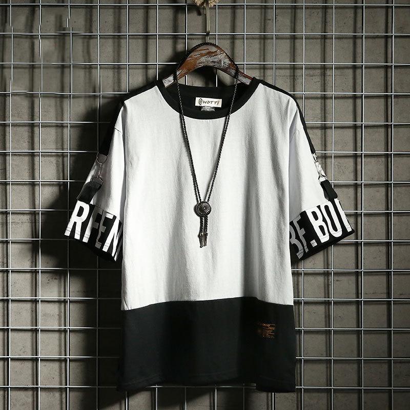 Hip Hop T Shirt Harajuku Streetwear Man's T-shirt Korean Half Anime Shirt Teen Clothes Black Shirt Free gift 9