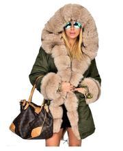 Wholesale Luxury Ladies Faux Fur Casual Hood Parka Women Long Trench Jacket Outwear Coat Women Winter coat size S-2XL