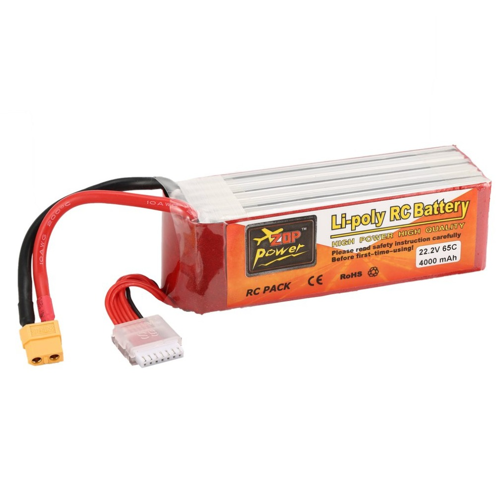 ZOP Power 22.2V <font><b>4000mAh</b></font> 65C <font><b>6S</b></font> 1P <font><b>Lipo</b></font> Battery XT60 Plug Rechargeable for RC Racing Drone Quadcopter Helicopter Car Boat Model image