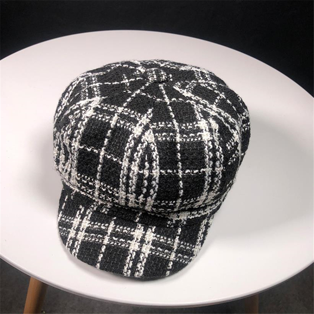 BUTTERMERE Women's Plaid Beret Hat Autumn Winter Female Newsboy Cap Vintage Black White Octagonal Cap Korean Ladies Painter Hat