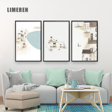 Cartoon house  Illustration Canvas Painting Posters And Prints Art Wall Pictures Childrens Room Bedroom Home Decoration