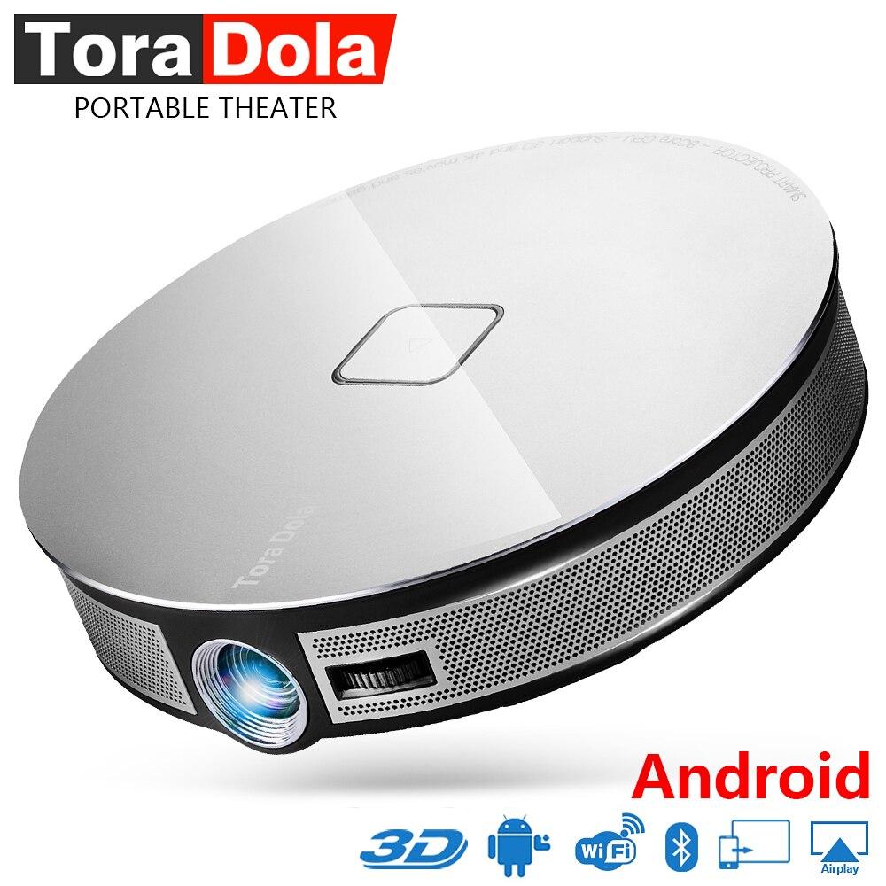 TORA DOLA Smart HD Projecteur 1280*720 p Résolution. construire dans Android wifi, 12000 mah Batterie Home Theater Soutien 4 k Active 3D. D8S