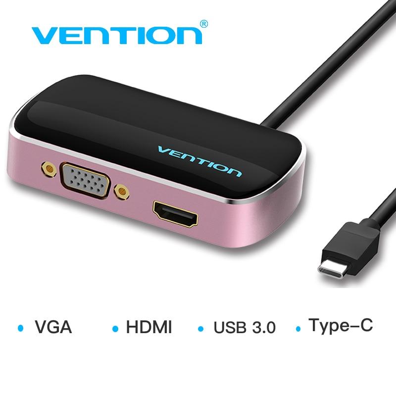 Vention USB Type C Hub to HDMI VGA USB 3.0 Female Converter Adapter Type-c Converter For Macbook Chromebook Pixel USB C HDMI VGA usb c to hdmi vga usb 3 0 hub type c to hdmi vga adapter with 3 usb 3 0 port for new macbook samsung s8 plus lenovo thinkpad p5