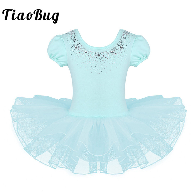 TiaoBug 2-8 Years Kids Girls Mesh Short Bubble Sleeve Sparkly Rhinestones Ballet Dance Gymnastics Leotard Ballerina Tutu Dress