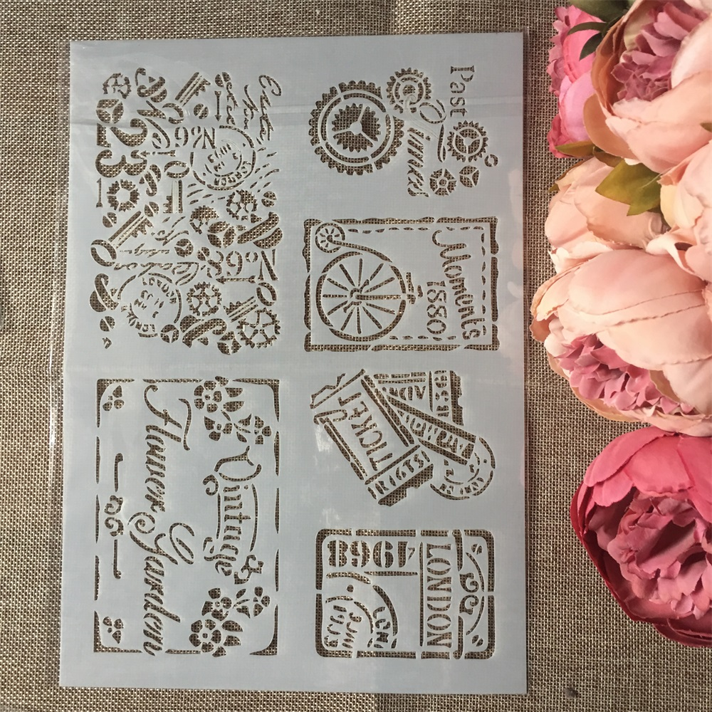 1Pcs A4 Vintage Tickets DIY Layering Stencils Wall Painting Scrapbook Coloring Embossing Album Decorative Paper Card Template