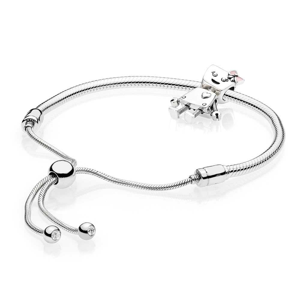 100% 925 Sterling Silver Bella Bot Bracelet Set Fit DIY Original Charm Bracelets Jewelry ...