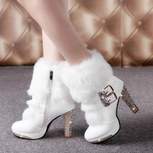 2016 Winter Fur Boots Women's Plush Warm Platform Ankle Boots Shoe side zipper buckle Woman High Heels fashion Shoes Black White
