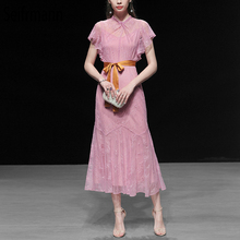 Seifrmann New Women Spring Summer Dress Runway Fashion Designer Lace Bow Tie Ruffles Mesh Overlay Elegant Party Ladies Dresses girls embroidered mesh overlay bow tie back ball gown