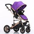 Luxuoso Do Bebê Carrinho de Criança Dobrável Carrinho de Bebê de Alta Paisagem Se Sentar e Deitar para Recém-nascidos Infantil Quatro Rodas 6 Cores