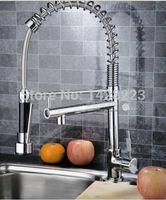 Chrome Finished Single Handle Double Spout Kitchen Faucet Deck Mounted Kitchen Vessel Sink Mixer Tap