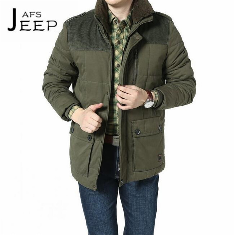 AFS JEEP Big fur Collar Man's Military thick winter cool weather warmly coats,Double side pocket Mid age winter cotton overcoats grizzly 2017 new fashion men backpack waterproof large capacity school bags for teenager boys casual mochila travel bag