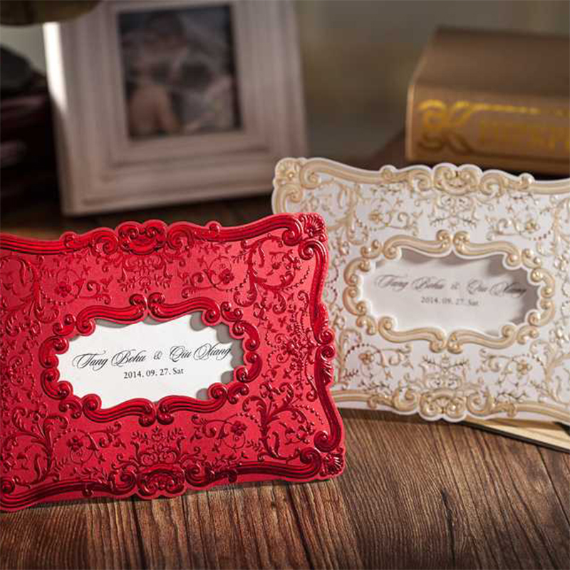 Flower Bronzing Lace Wedding Invitations Kit Cards invite Blank Paper convite para casamento Printing Card Free Message square design white laser cut invitations kit blanl paper printing wedding invitation card set send envelope casamento convite
