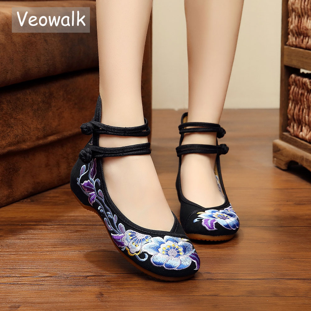 Veowalk Vintage Women Cotton Flower Embroidery Shoes Ladies Casual Chinese Style Comfortable Soft Canvas Dance Ballet Shoes veowalk handmade fashion women ballerinas dancing shoes chinese flower embroidery soft casual shoes cloth walking flats