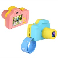 New 1080P Mini Camera Digital Camera for Kids Baby Cute Cartoon Multifunction Toy Cam Children Birthday Gifts Pink Blue Color