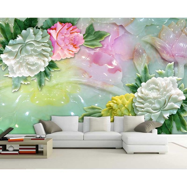 Fantasy Modern 3d Relief Peony Flowers Murals Wallpaper For Living