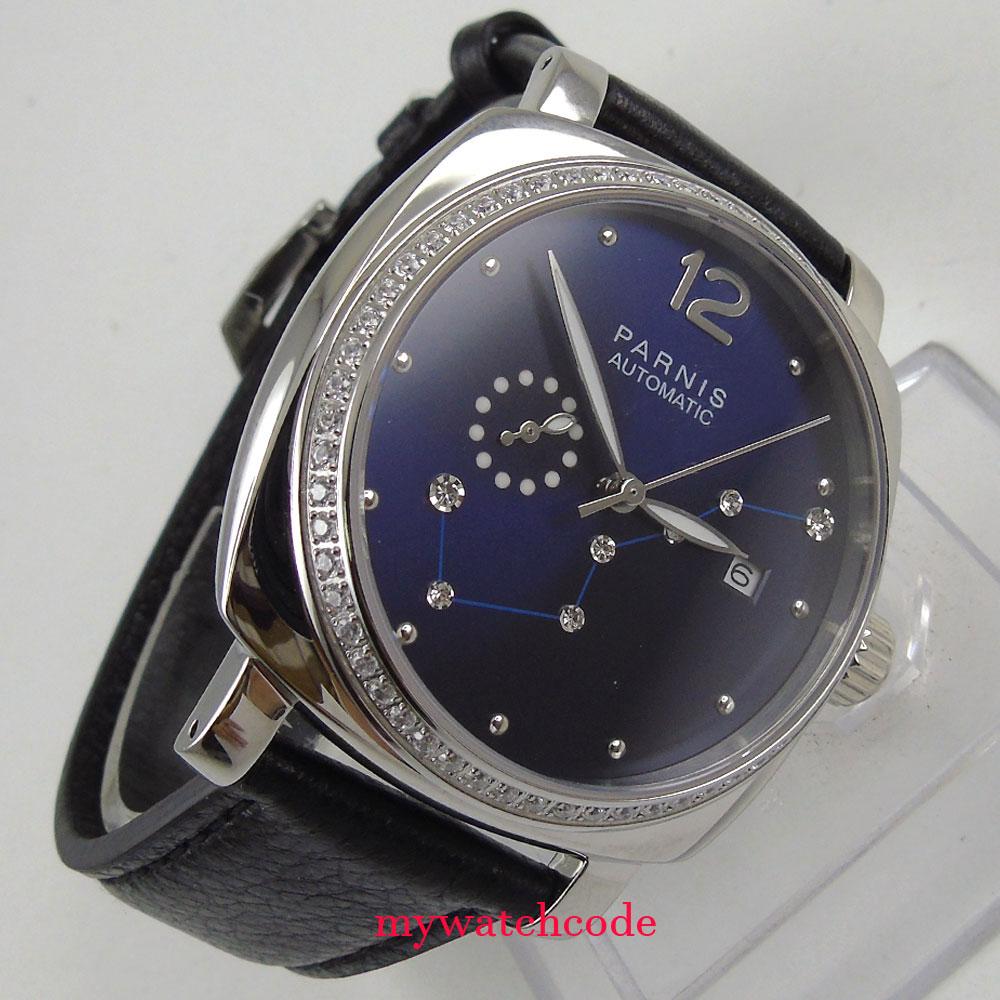 Fashionable 39mm Parnis Blue Dial Diamond Sapphire Miyota Automatic Womens Watch