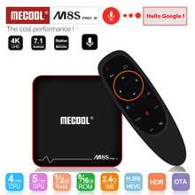 MECOOL M8S PRO W 2.4G Voice Control Android 7.1 TV Box Amlogic S905W Quad Core 2GB/16GB media Player WiFi 4K H.265 Set Top Box цена и фото