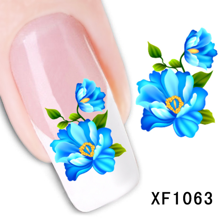 купить  flower design Water Transfer Nails Art Sticker decals lady women manicure tools Nail Wraps Decals wholesale XF1063  онлайн