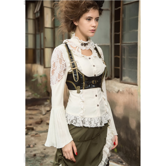 Vintage Long Flare Sleeves Lace-up Back Steampunk Victorian Halter Blouse SP175WI