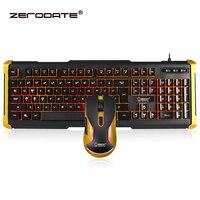 Zerodate K12 Водонепроницаемый Gaming Keyboard оптический Pro Gamer Мышь подсветкой мультимедиа eUSB проводной rgonomic для ноутбука