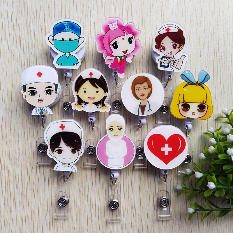 1 Pcs New Foreign Trade Selling Lovely Cartoon Telescopic Badge Reel Bus Card Doctors Nurse Special ID Name Card Badge Holder