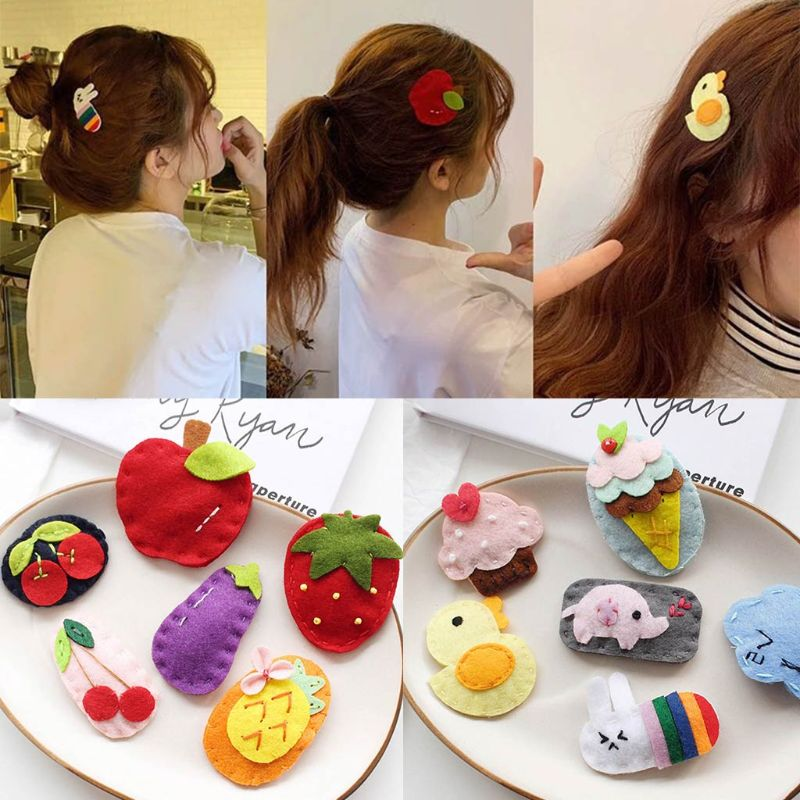 Korean Style Baby School Girl Felt Fabric Craft Hair Clip Cute Colored Cartoon Fruit Strawberry Animal Snap Hairgrip Bb Barrette Women S Hair Accessories Aliexpress